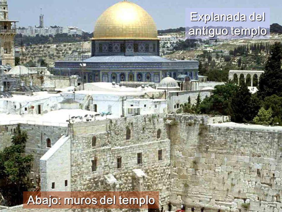 Explanada del antiguo templo Abajo: muros del templo
