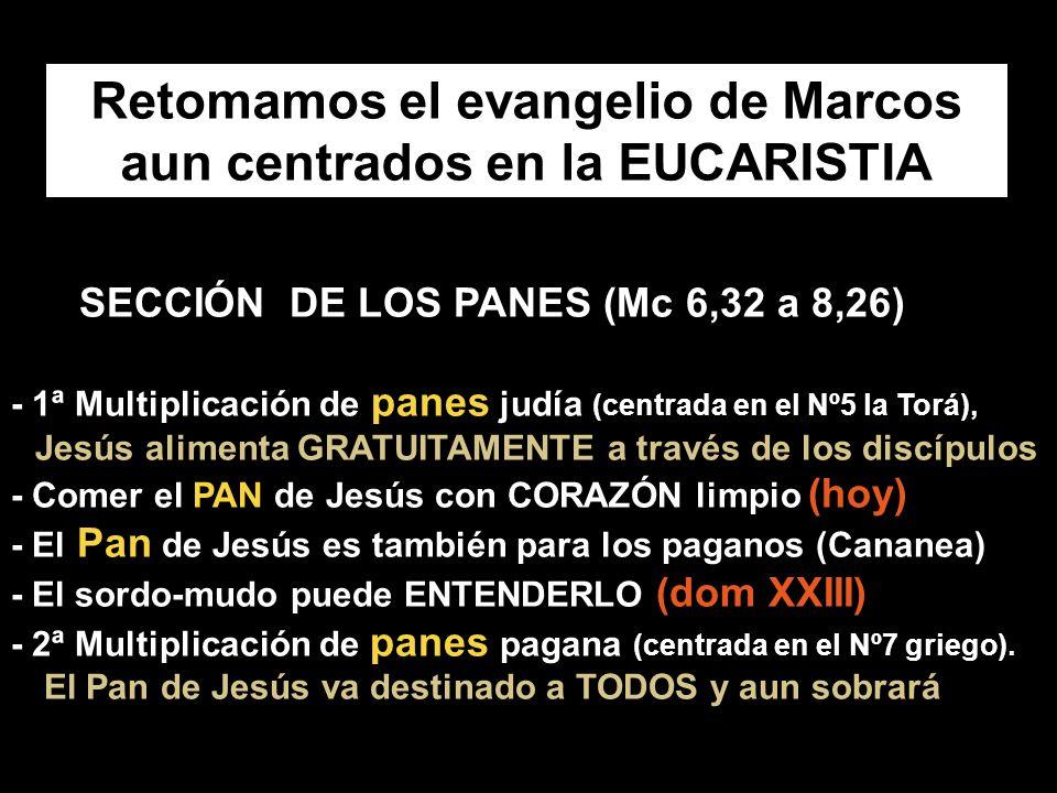 Retomamos el evangelio de Marcos aun centrados en la EUCARISTIA