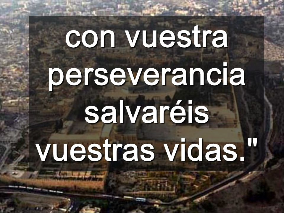 con vuestra perseverancia salvaréis vuestras vidas.