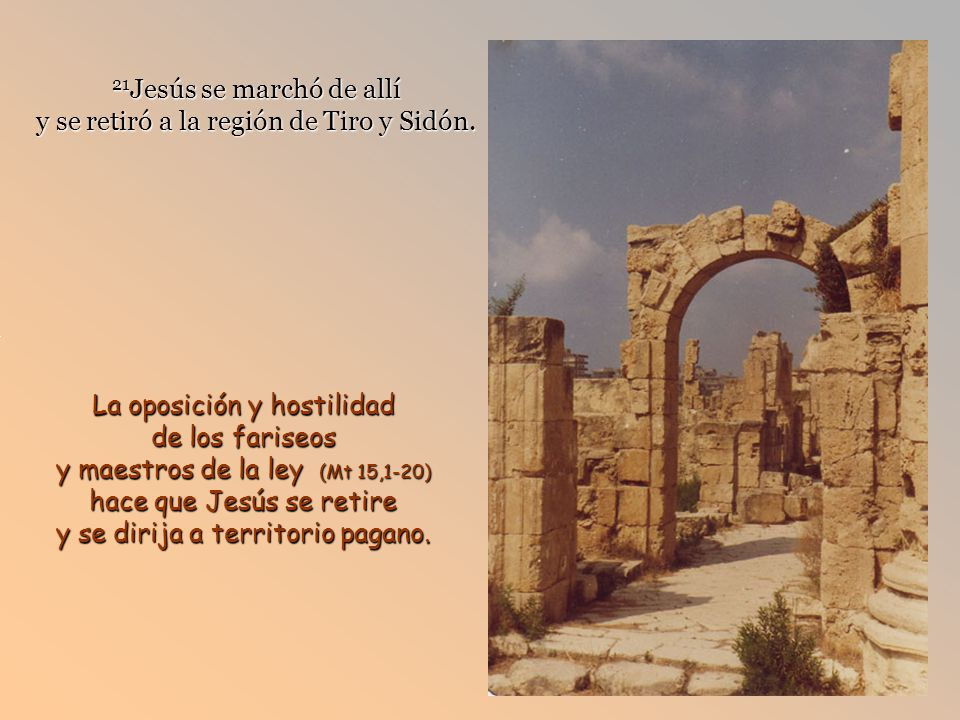 21Jesús se marchó de allí y se retiró a la región de Tiro y Sidón.
