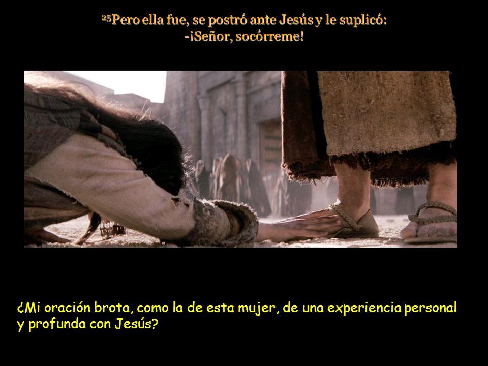 25Pero ella fue, se postró ante Jesús y le suplicó: -¡Señor, socórreme!