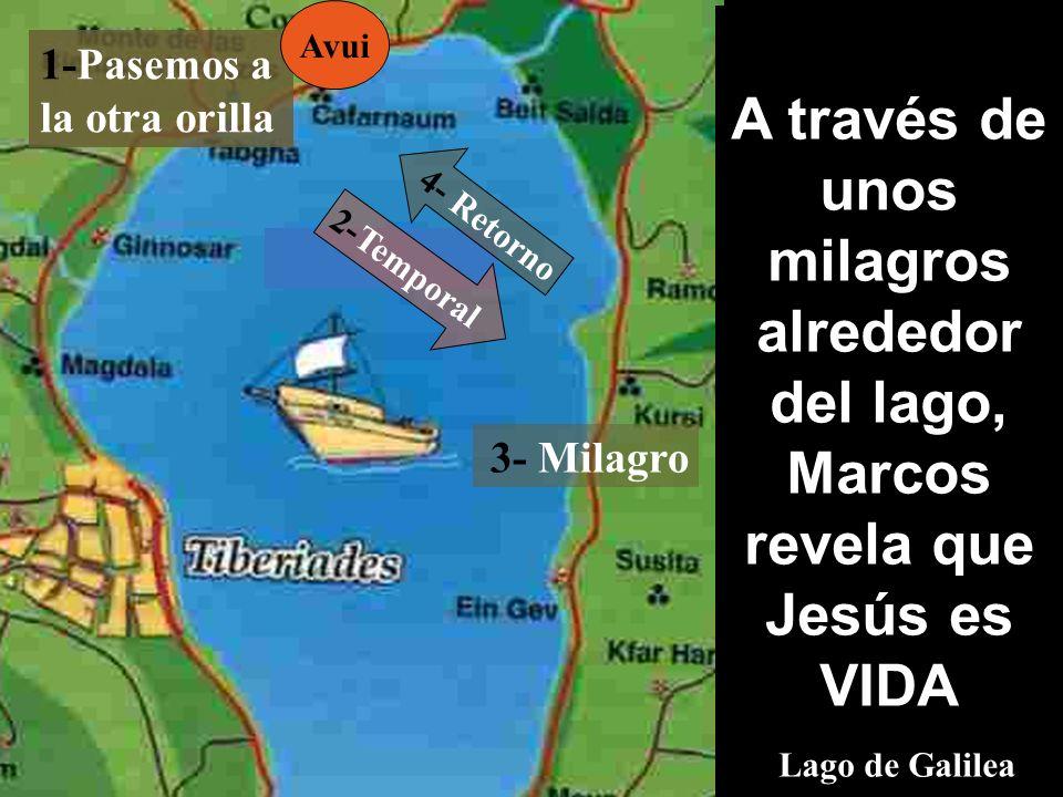 AvuiA través de unos milagros alrededor del lago, Marcos revela que Jesús es VIDA Lago de Galilea.