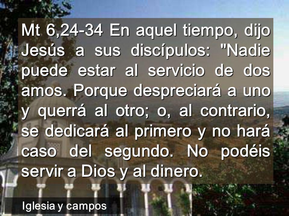 Mt 6,24-34 En aquel tiempo, dijo Jesús a sus discípulos: Nadie puede estar al servicio de dos amos. Porque despreciará a uno y querrá al otro; o, al contrario, se dedicará al primero y no hará caso del segundo. No podéis servir a Dios y al dinero.