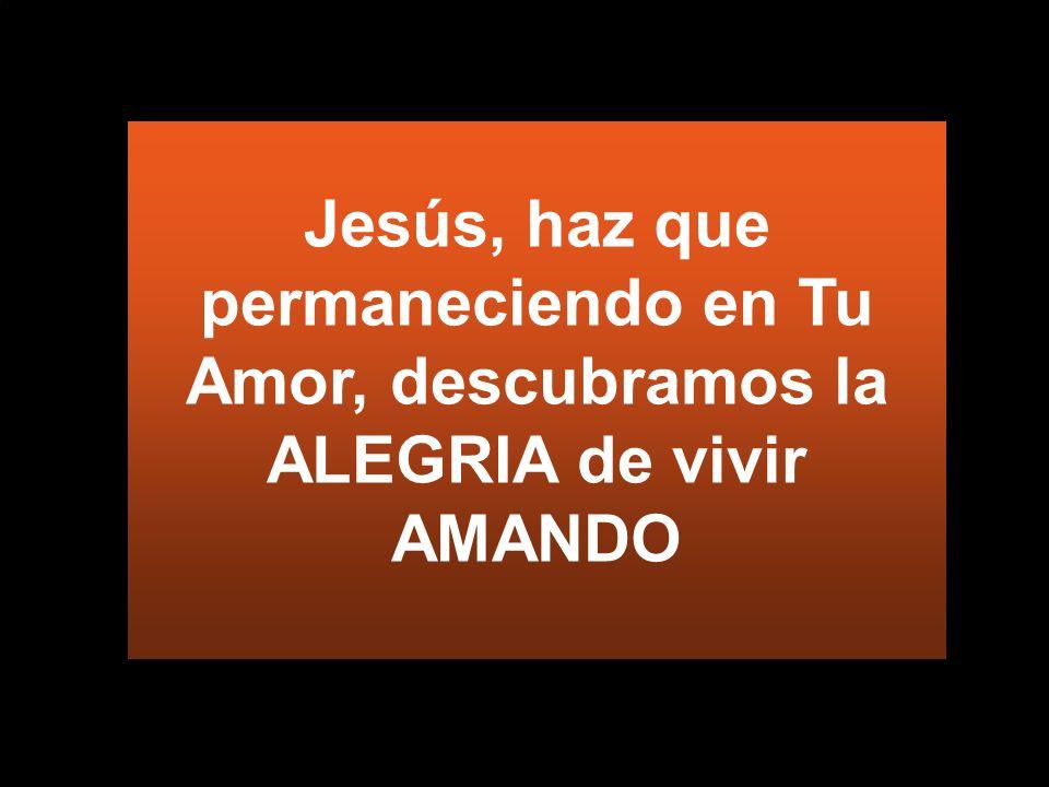 Jesús, haz que permaneciendo en Tu Amor, descubramos la ALEGRIA de vivir AMANDO