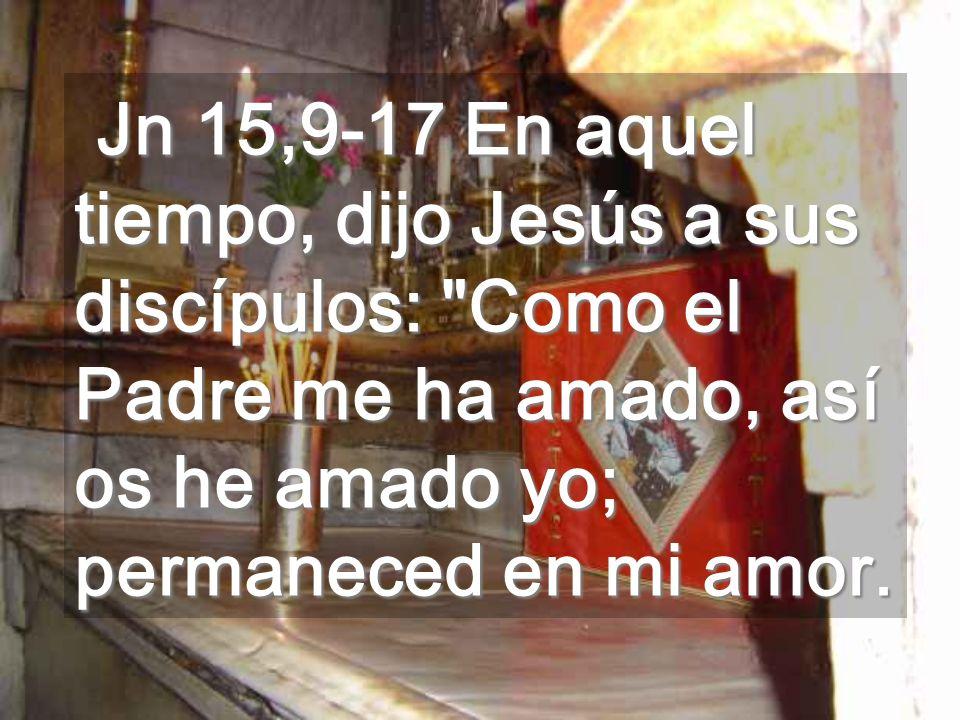 Jn 15,9-17 En aquel tiempo, dijo Jesús a sus discípulos: Como el Padre me ha amado, así os he amado yo; permaneced en mi amor.