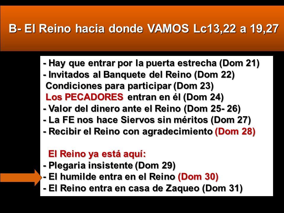 B- El Reino hacia donde VAMOS Lc13,22 a 19,27