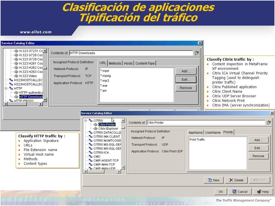 Clasificación de aplicaciones Tipificación del tráfico