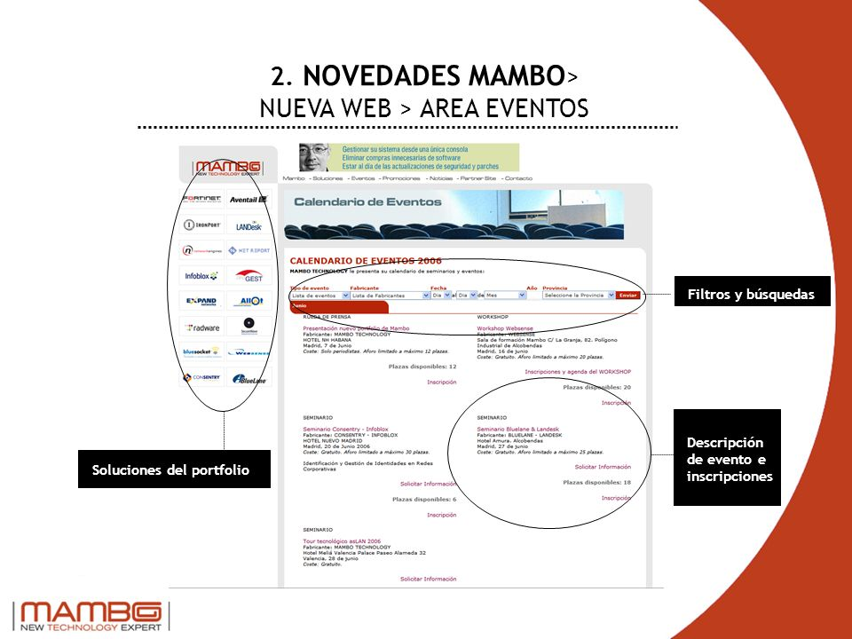 2. NOVEDADES MAMBO> NUEVA WEB > AREA EVENTOS