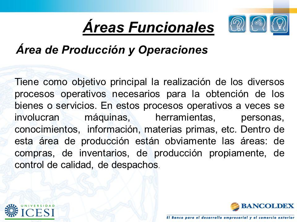 Áreas Funcionales Área de Producción y Operaciones