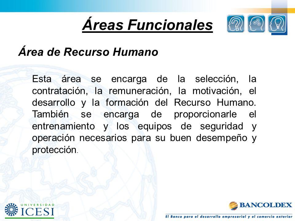 Áreas Funcionales Área de Recurso Humano