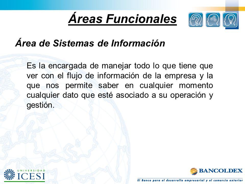 Áreas Funcionales Área de Sistemas de Información