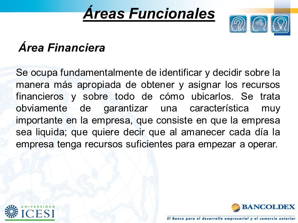 Áreas Funcionales Área Financiera
