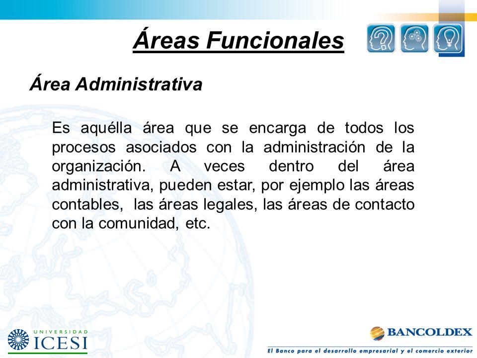 Áreas Funcionales Área Administrativa