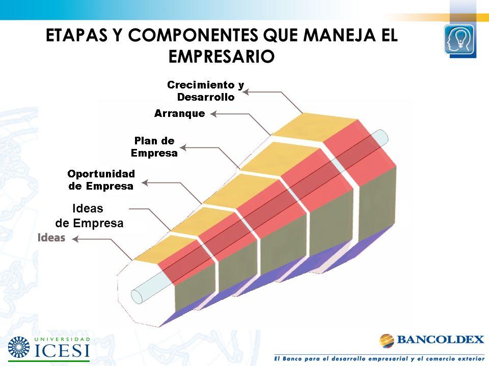 ETAPAS Y COMPONENTES QUE MANEJA EL EMPRESARIO