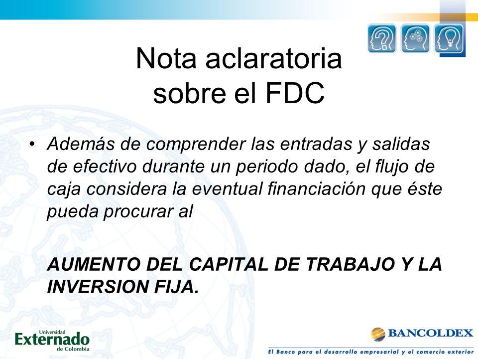Nota aclaratoria sobre el FDC
