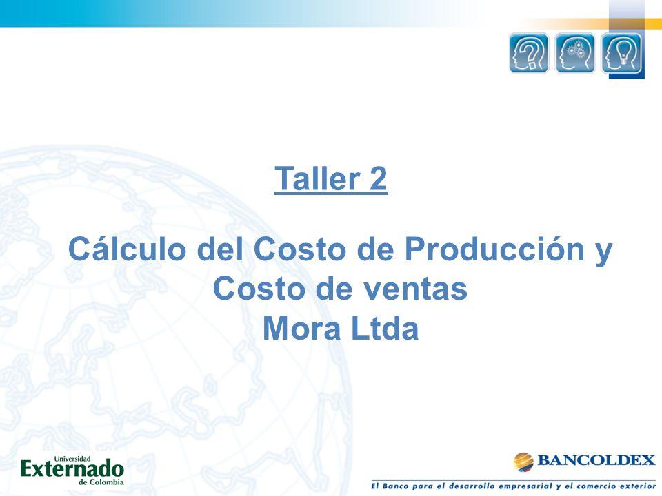 Cálculo del Costo de Producción y Costo de ventas Mora Ltda