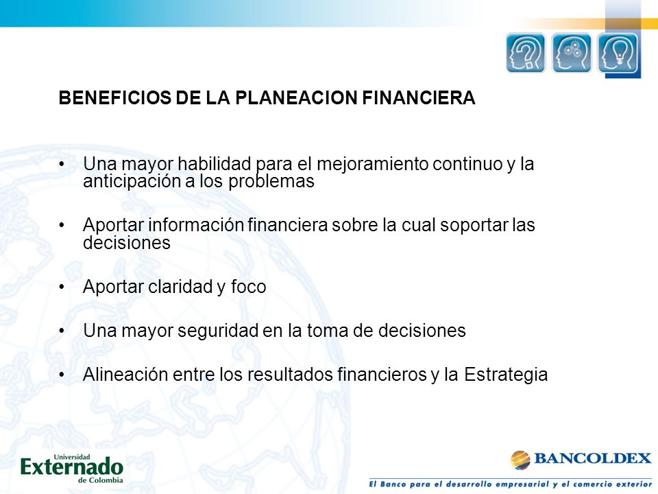 BENEFICIOS DE LA PLANEACION FINANCIERA
