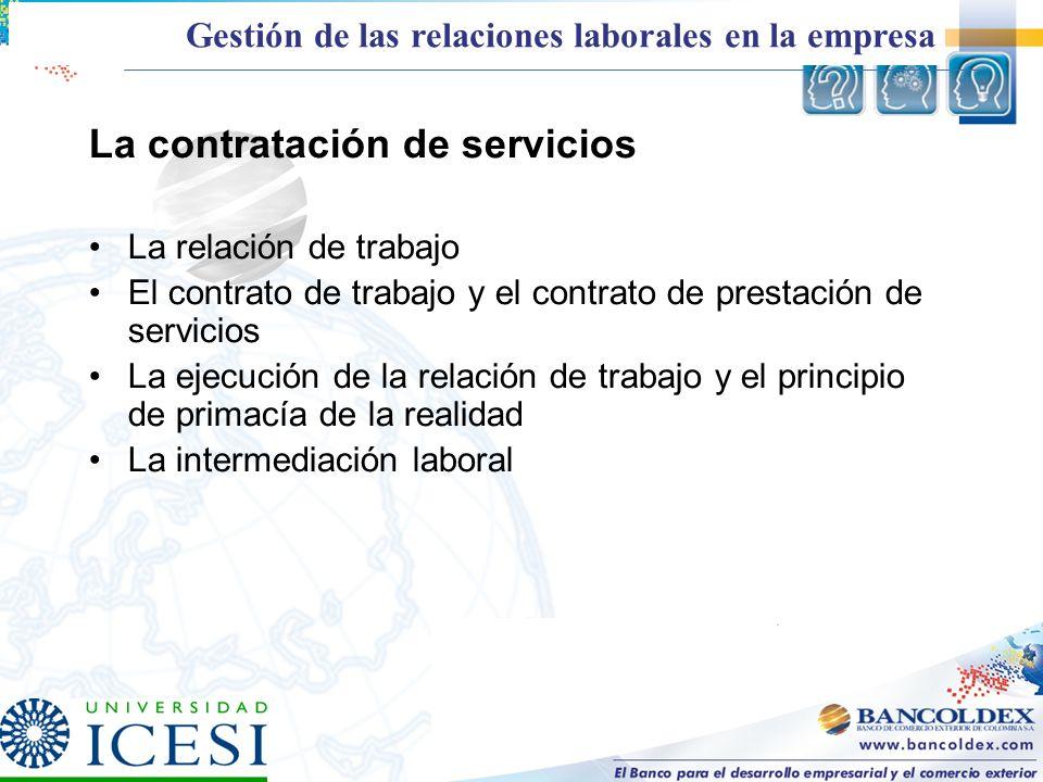 La contratación de servicios