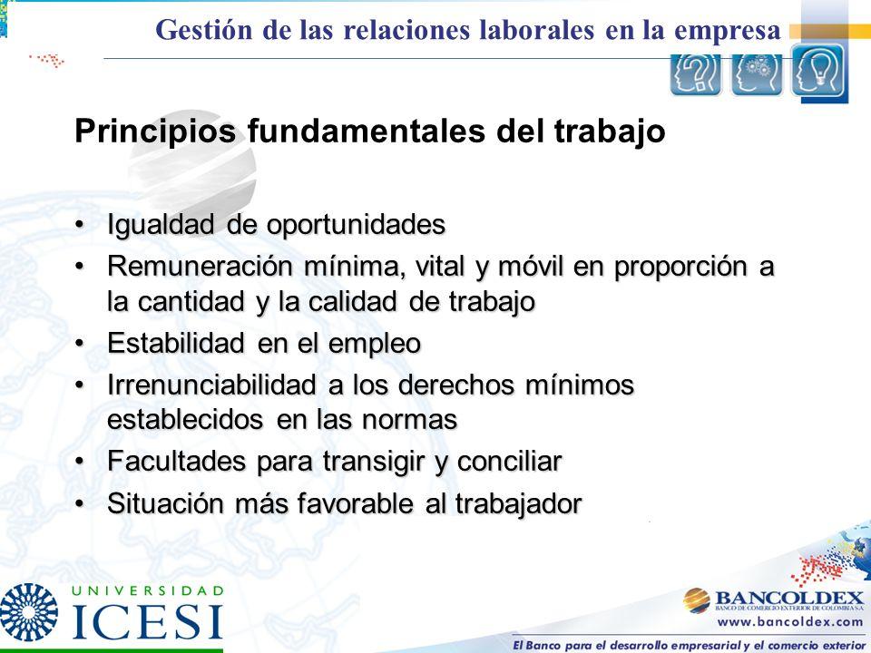 Principios fundamentales del trabajo