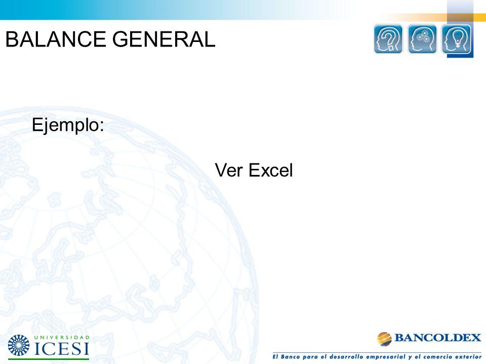 BALANCE GENERAL Ejemplo: Ver Excel