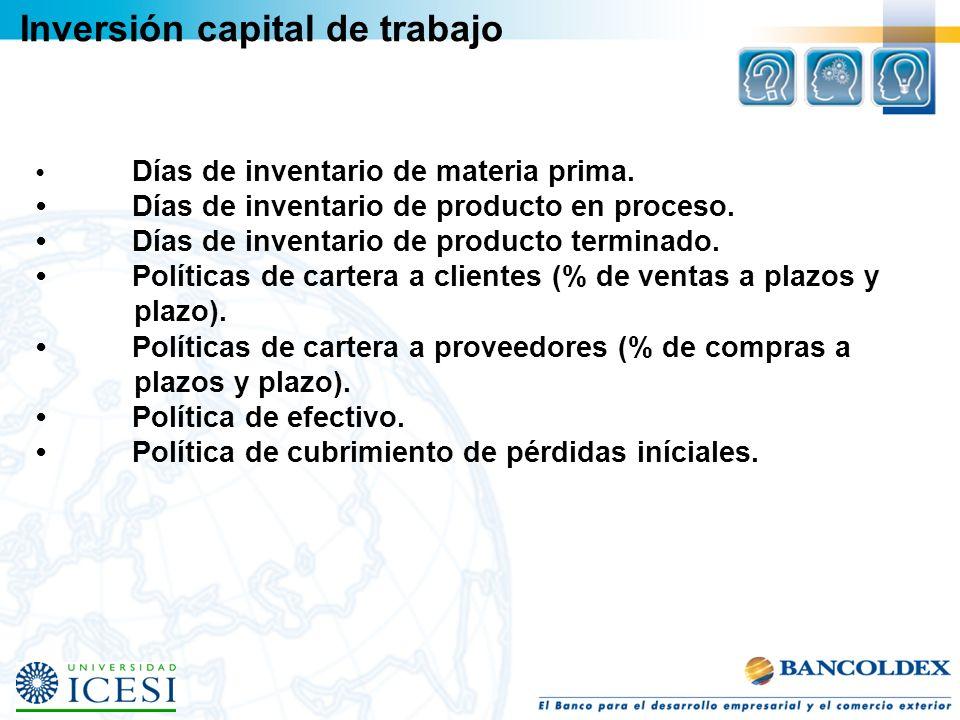 Inversión capital de trabajo