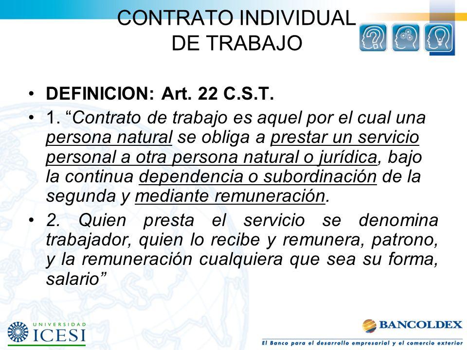 CONTRATO INDIVIDUAL DE TRABAJO