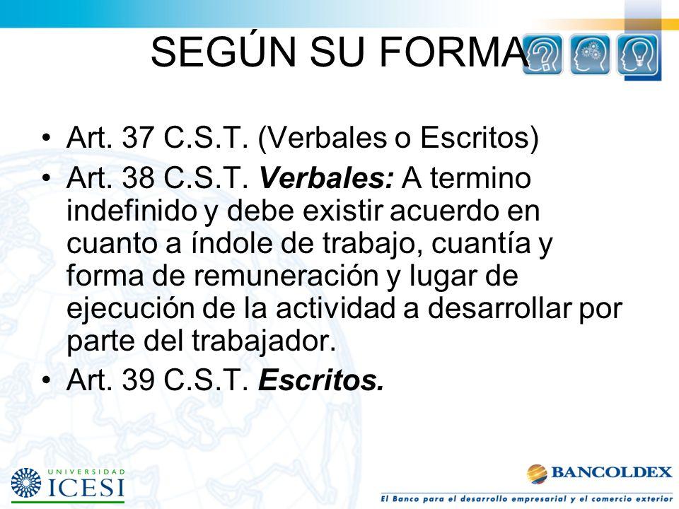 SEGÚN SU FORMA Art. 37 C.S.T. (Verbales o Escritos)