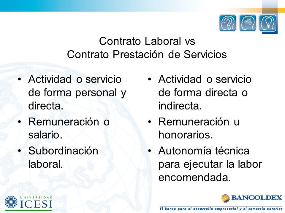 Contrato Laboral vs Contrato Prestación de Servicios