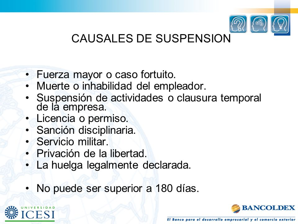 CAUSALES DE SUSPENSION