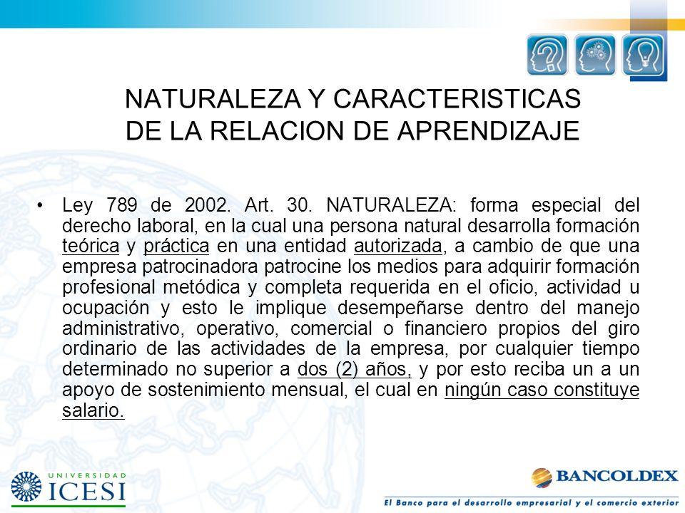 NATURALEZA Y CARACTERISTICAS DE LA RELACION DE APRENDIZAJE