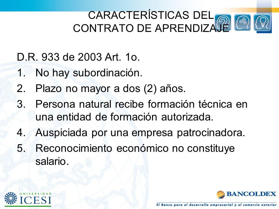 CARACTERÍSTICAS DEL CONTRATO DE APRENDIZAJE