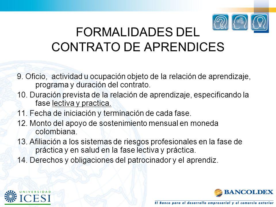 FORMALIDADES DEL CONTRATO DE APRENDICES