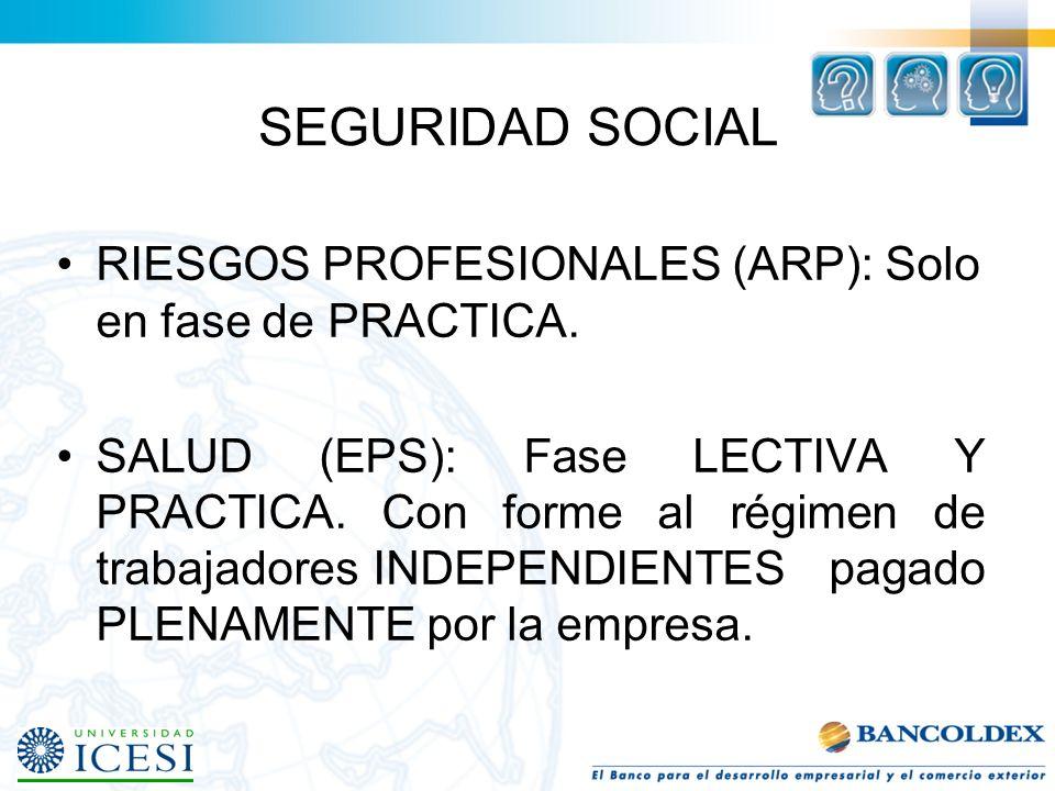 SEGURIDAD SOCIAL RIESGOS PROFESIONALES (ARP): Solo en fase de PRACTICA.