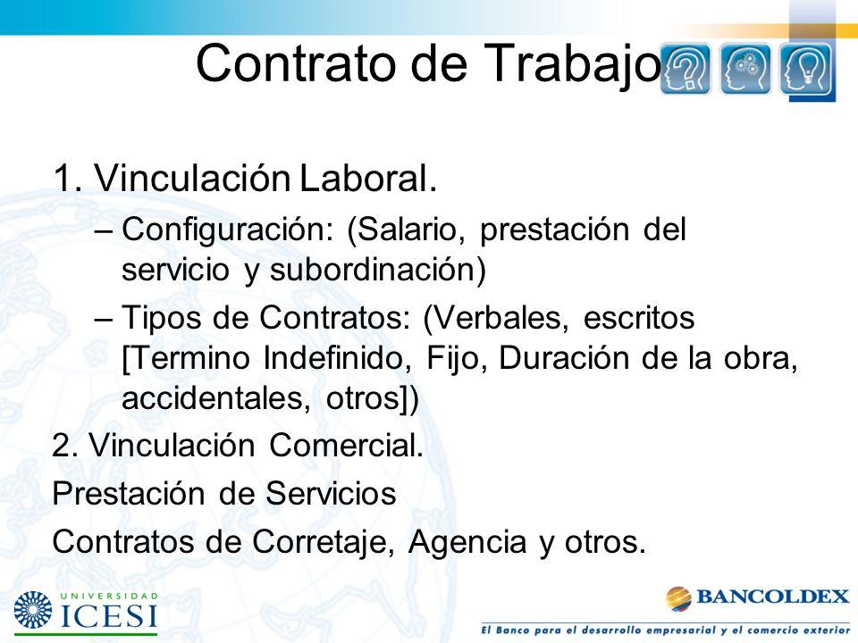 Contrato de Trabajo 1. Vinculación Laboral.