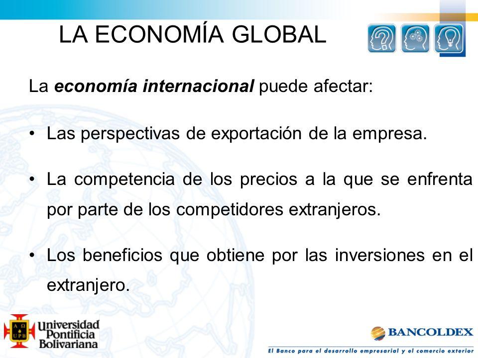 LA ECONOMÍA GLOBAL La economía internacional puede afectar: