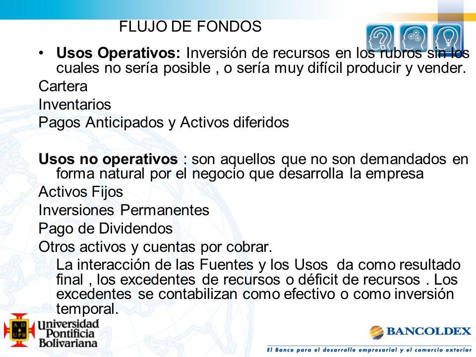 FLUJO DE FONDOSUsos Operativos: Inversión de recursos en los rubros sin los cuales no sería posible , o sería muy difícil producir y vender.