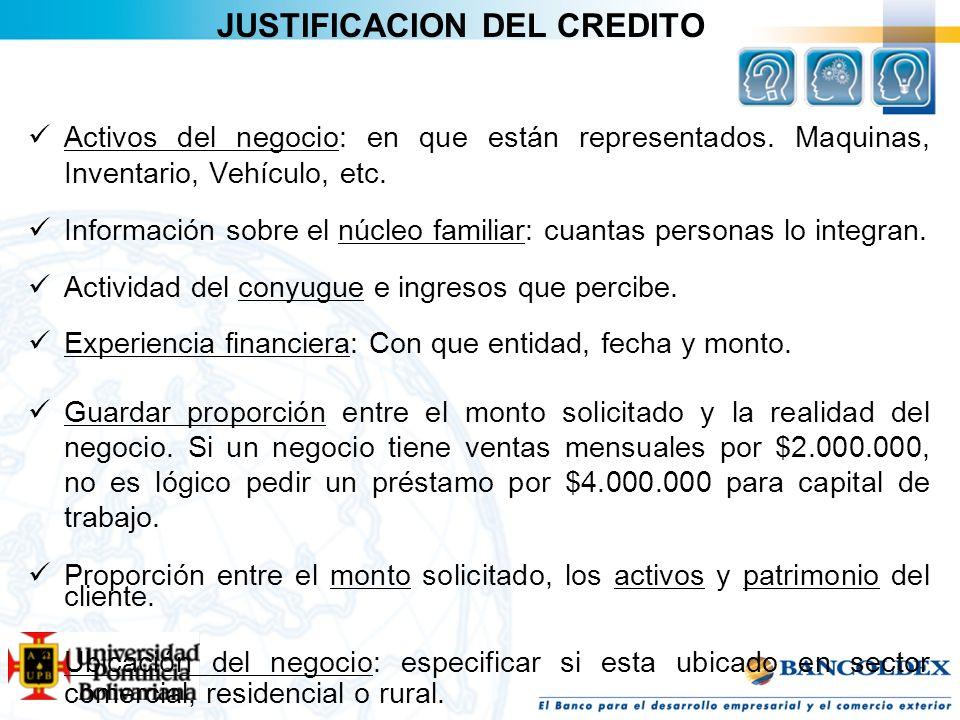 JUSTIFICACION DEL CREDITO