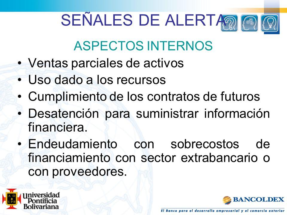SEÑALES DE ALERTA ASPECTOS INTERNOS Ventas parciales de activos