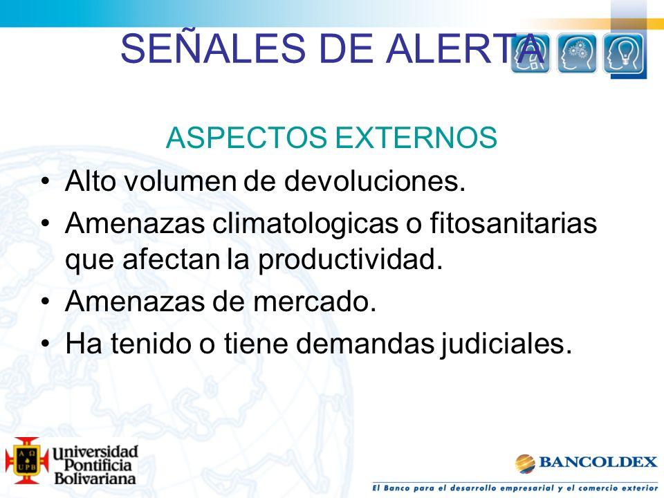 SEÑALES DE ALERTA ASPECTOS EXTERNOS Alto volumen de devoluciones.