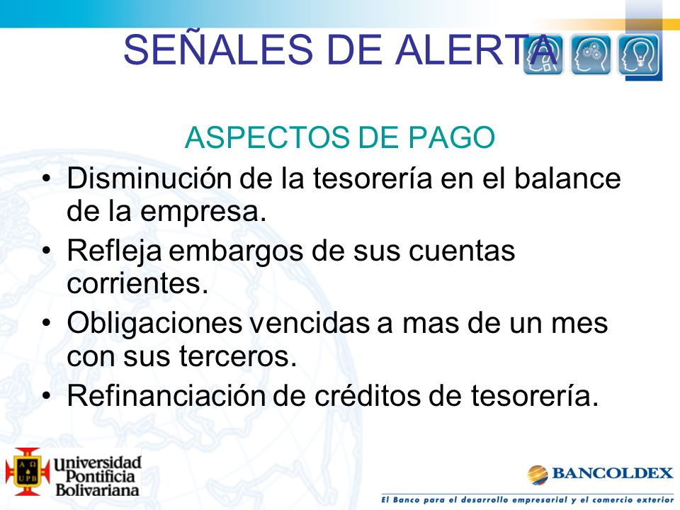 SEÑALES DE ALERTA ASPECTOS DE PAGO