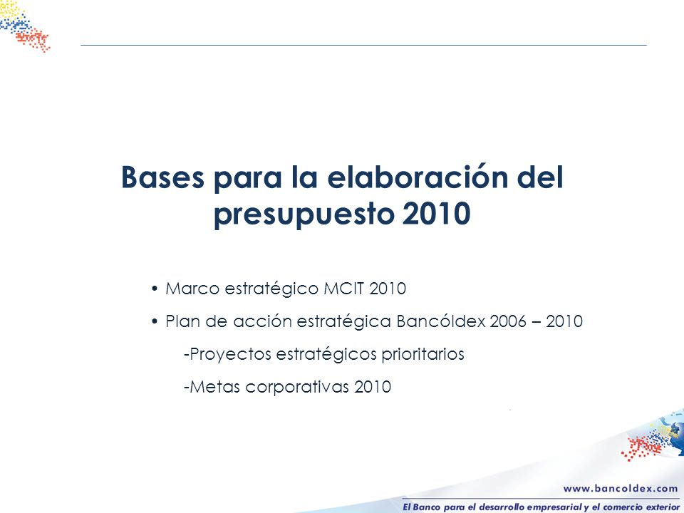 Bases para la elaboración del presupuesto 2010