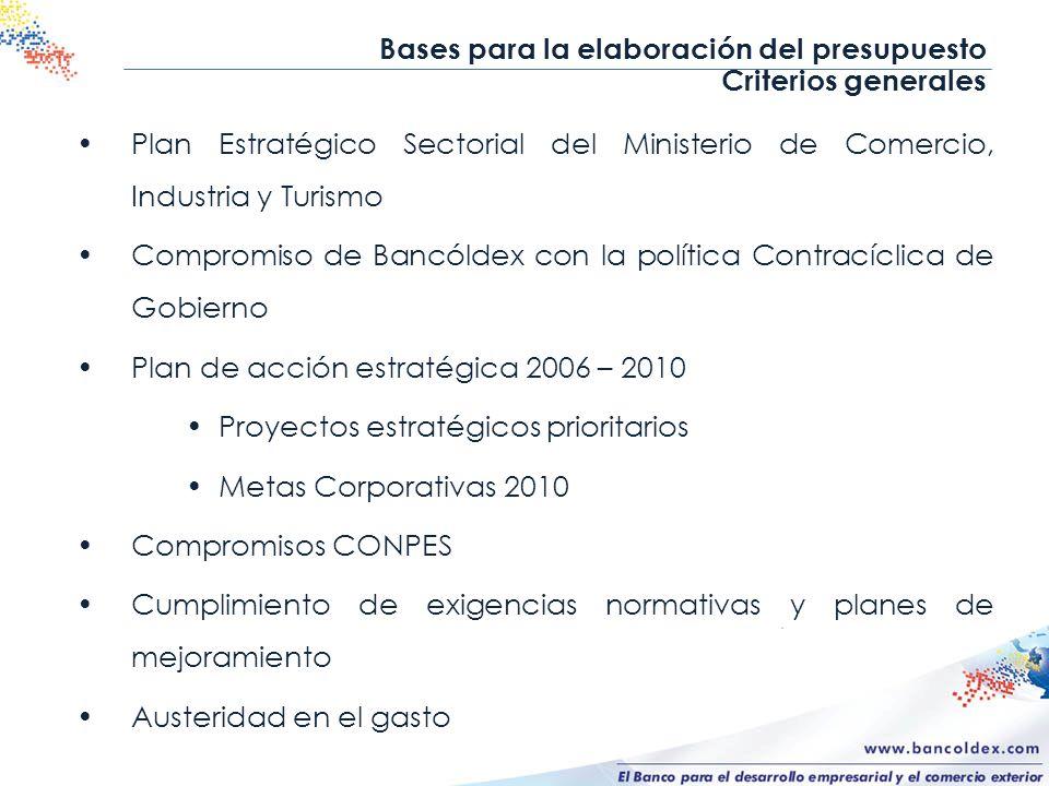 Bases para la elaboración del presupuesto Criterios generales