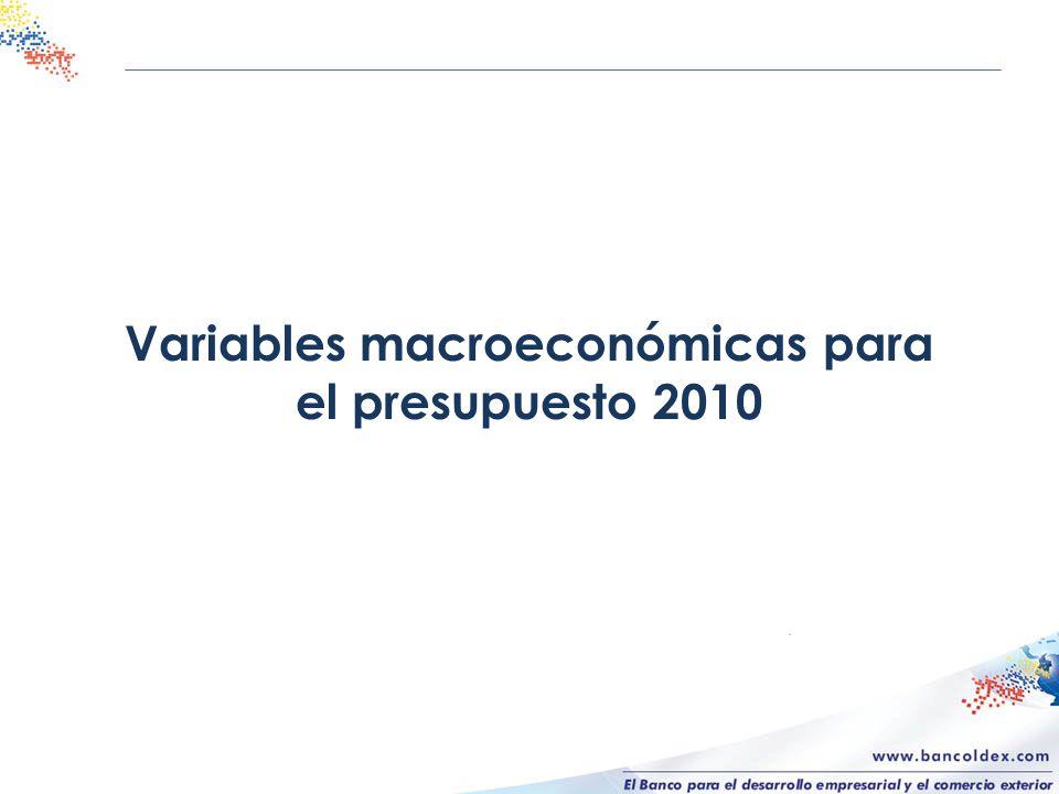 Variables macroeconómicas para el presupuesto 2010