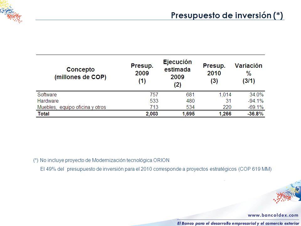 Presupuesto de inversión (*)