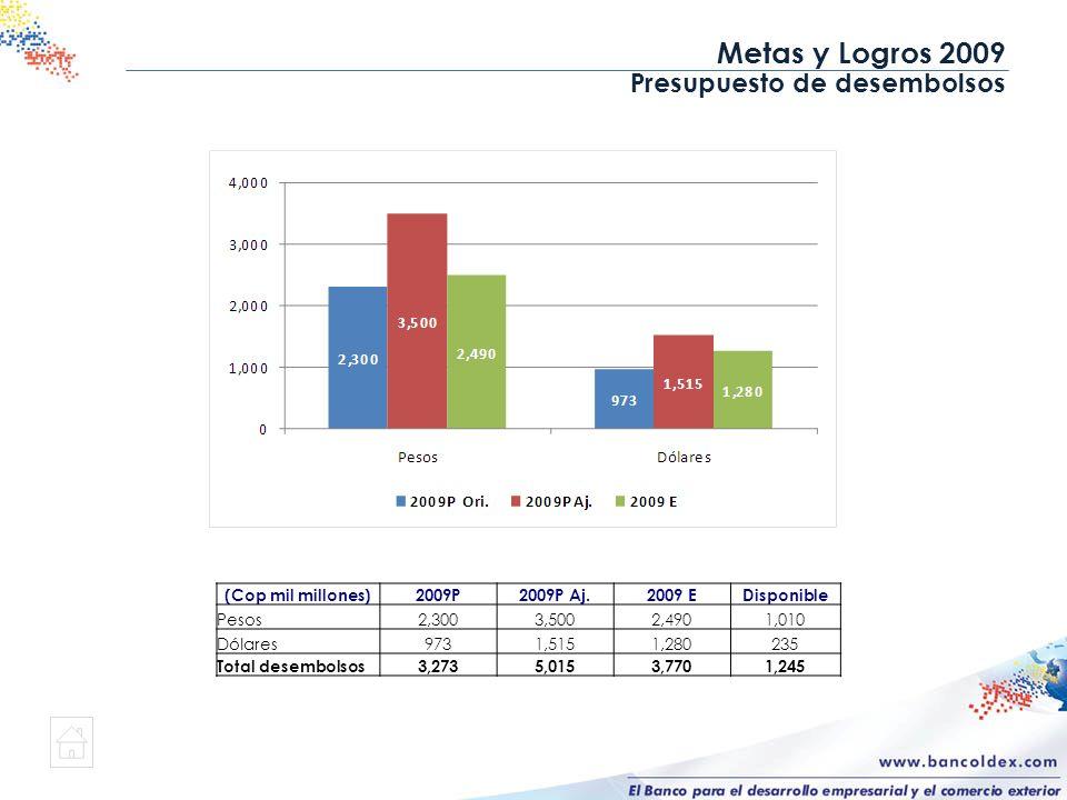 Metas y Logros 2009 Presupuesto de desembolsos (Cop mil millones)