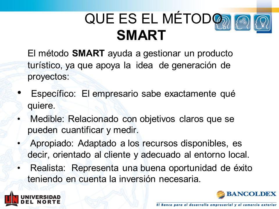 QUE ES EL MÉTODO SMART El método SMART ayuda a gestionar un producto turístico, ya que apoya la idea de generación de proyectos: