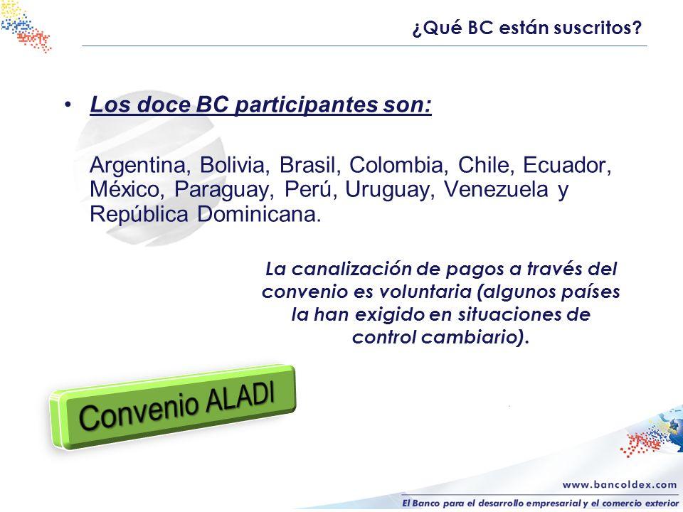 Convenio ALADI Los doce BC participantes son: