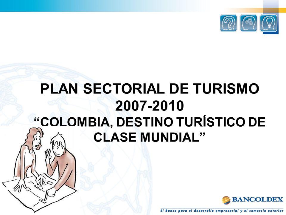 PLAN SECTORIAL DE TURISMO COLOMBIA, DESTINO TURÍSTICO DE
