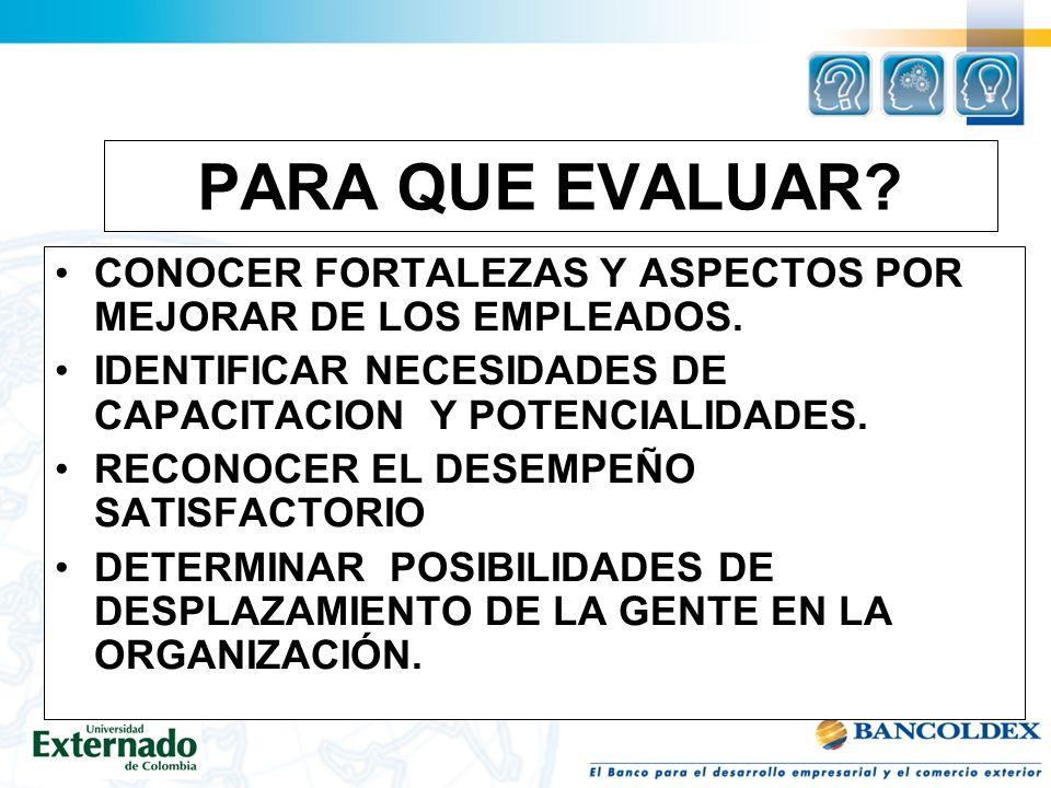 PARA QUE EVALUAR CONOCER FORTALEZAS Y ASPECTOS POR MEJORAR DE LOS EMPLEADOS. IDENTIFICAR NECESIDADES DE CAPACITACION Y POTENCIALIDADES.