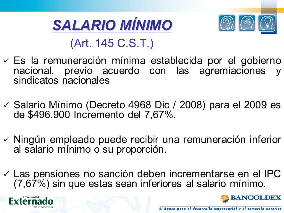 SALARIO MÍNIMO (Art. 145 C.S.T.)